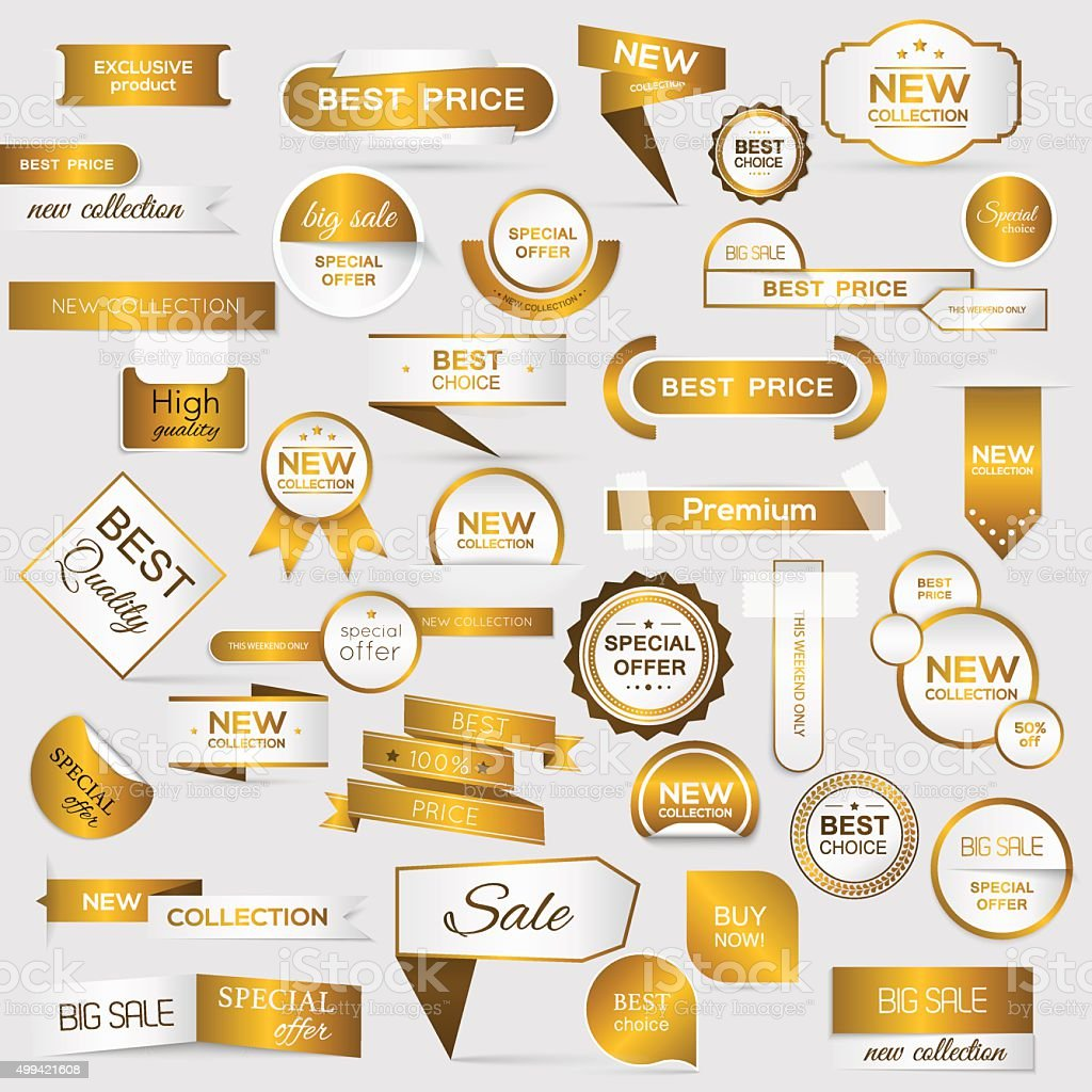 Collection of golden premium promo seals/stickers. vector art illustration