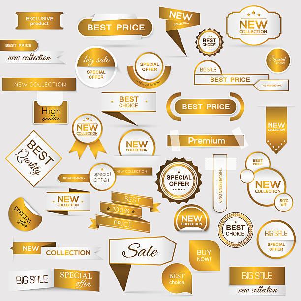 stockillustraties, clipart, cartoons en iconen met collection of golden premium promo seals/stickers. - exclusief