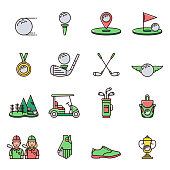 Collection of golf equipment icons and symbols in flat color line design: golfball, tee, hole, course, cart, bag, golfer, cup, bag, club, shoe, glove, medal.  Set of golfing game signs and elements.