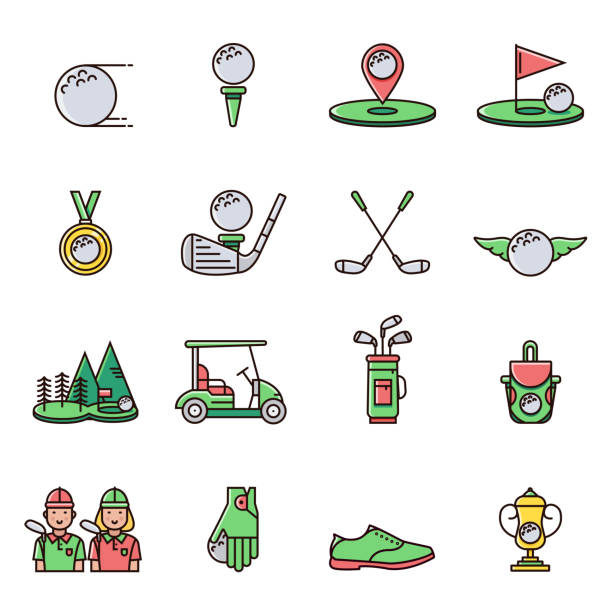 Collection of golf equipment icons and symbols in flat color line design: golfball, tee, hole, course, cart, bag, golfer, cup, bag, club, shoe, glove, medal.  Set of golfing game signs and elements. Collection of golf equipment icons and symbols in flat color line design: golfball, tee, hole, course, cart, bag, golfer, cup, bag, club, shoe, glove, medal.  Set of golfing game signs and elements. golf icon stock illustrations