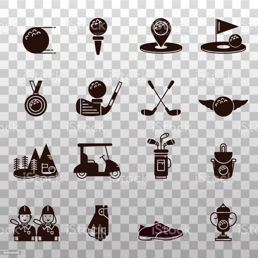 Sammlung Von Golfausrüstungsymbole Symbole Und Silhouetten Golfball ...