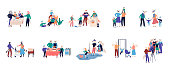 Collection of grandparents spending time with relatives illustration. Walking, reading books, shopping, celebrating birthday, buying food, cooking, home work. Flat cartoon vector set