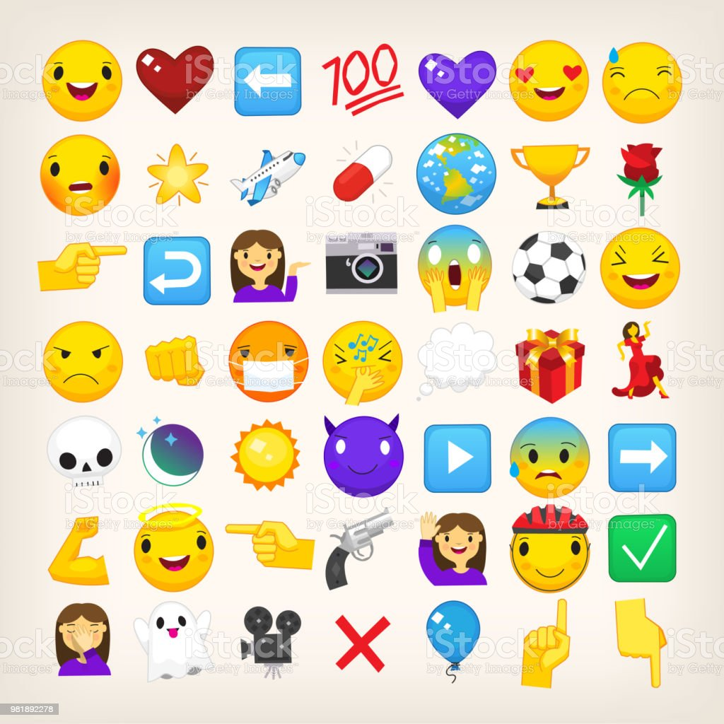 Collection Of Graphic Emoticons Signs And Symbols Used In Online