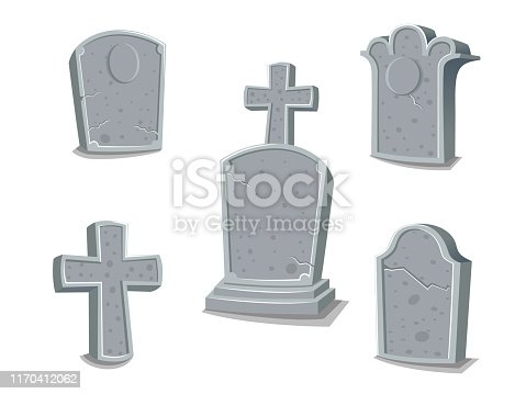 Collection of gravestones. Concept cartoon gravestone in different. Halloween elements set. Vector clipart illustration isolated on white background