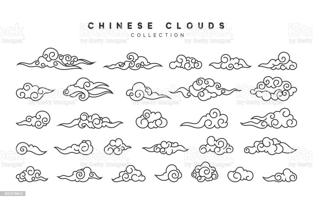 中国スタイルで分離された灰色の雲のコレクション ベクターアートイラスト