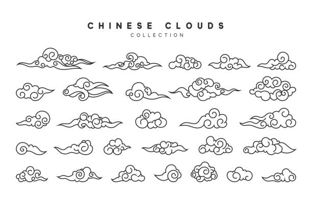 Collection of gray clouds, isolated in Chinese style Collection of gray clouds, isolated in Chinese style. china stock illustrations