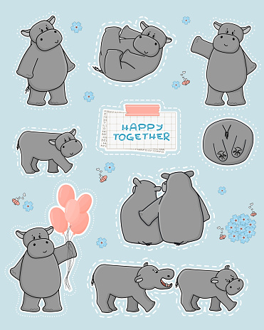 Collection of gray hippos in different poses, with balloons, flowers and bees. Happy Together text on squared paper, part of newspaper and pink washi tape