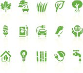A set of eco friendly green icons. Simple series. One icon consists of a single object + reflection (on a separate layer). EPS8, JPEG + AI CS3