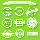 Collection of green eco-friendly organic label icons