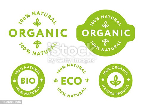 istock Collection of Green Healthy Organic Natural Eco Bio Food Products Label Stamp. 1086862856