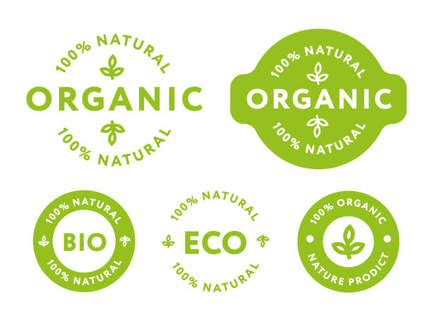 collection of green healthy organic natural eco bio food products label stamp. - organic stock illustrations, clip art, cartoons, & icons