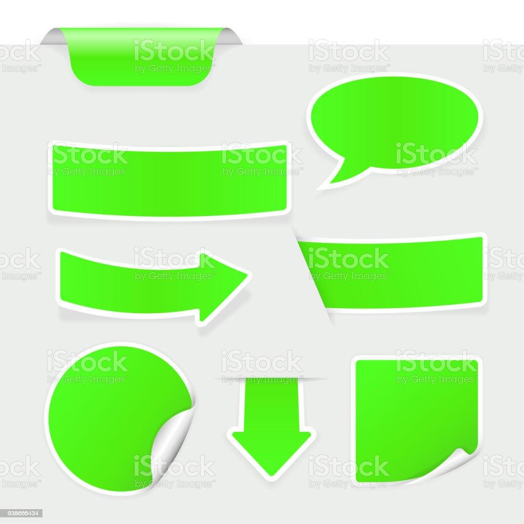Ilustración de Colección De Calcomanías De Color Verde Con Marco ...