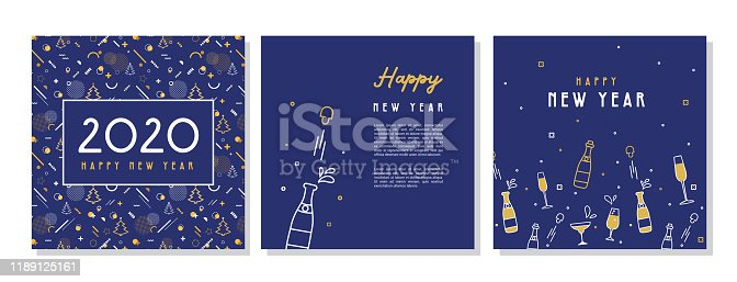 Happy New Year- 2020 . Collection of greeting background designs, New Year, social media promotional content. Vector illustration. vector illustration
