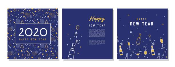 ilustrações, clipart, desenhos animados e ícones de feliz ano novo- 2020 . coleção de projetos de fundo de saudação, ano novo, conteúdo promocional de mídia social. ilustração do vetor - brinde