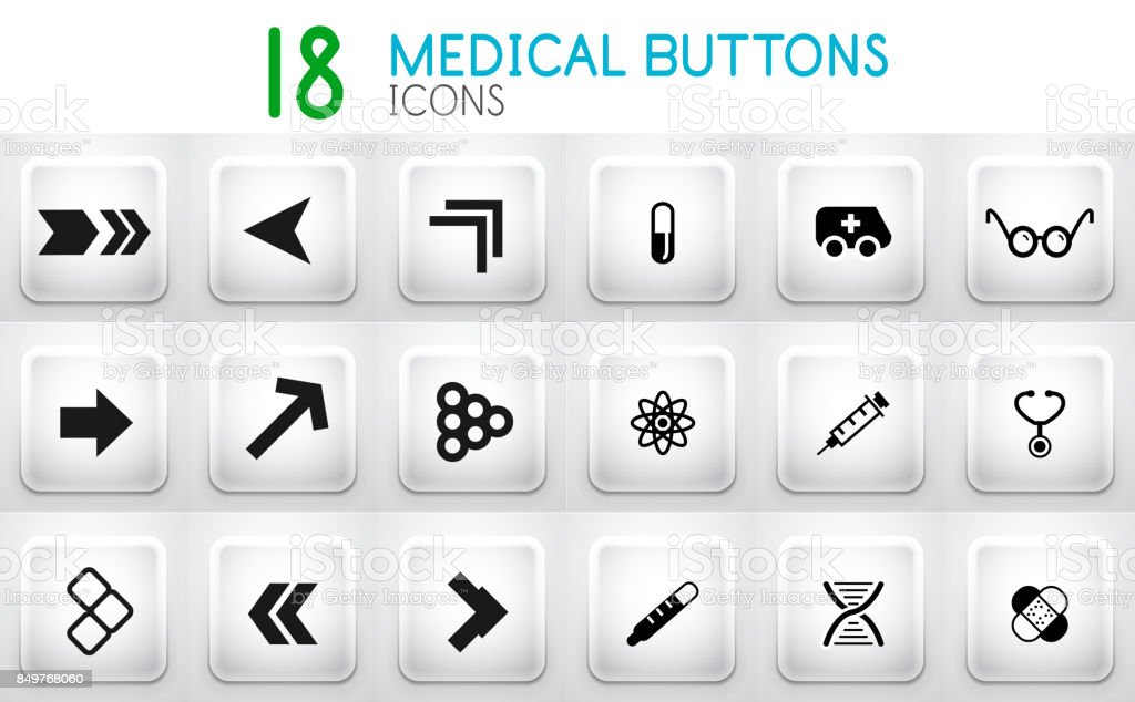 Collection of grey internet push button with icons vector art illustration