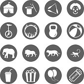 Collection of greyscale circus icons