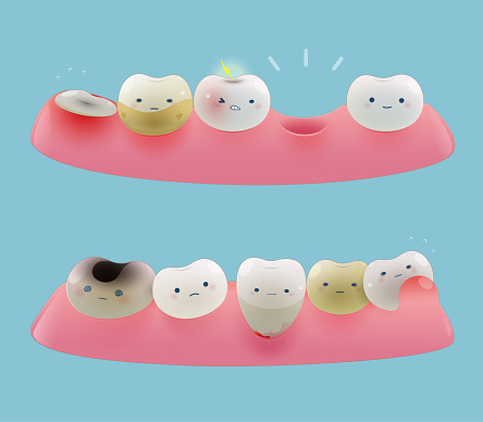 Collection of gum and cute little teeth