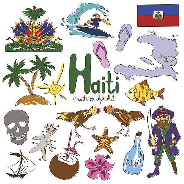 Collection of Haiti icons Fun colorful sketch collection of Haiti icons, countries alphabet drawing of a haiti map stock illustrations