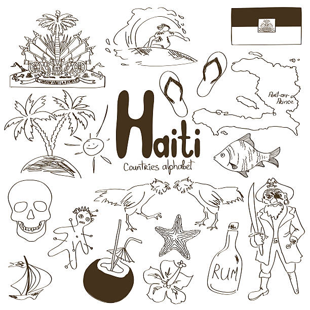 Collection of Haiti icons Fun sketch collection of Haiti icons, countries alphabet drawing of a haiti map stock illustrations