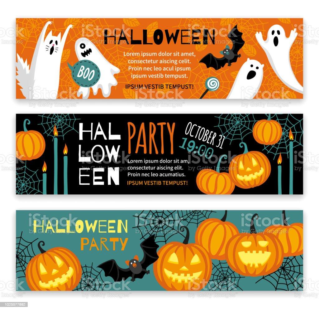 Sammlung von Halloween-Banner-Vorlagen. – Vektorgrafik