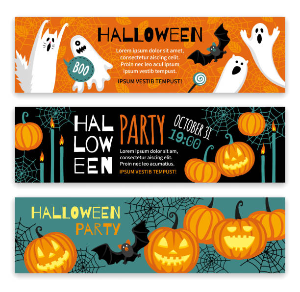 collection of halloween banner templates. - halloween stock illustrations, clip art, cartoons, & icons
