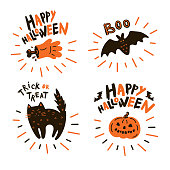 Collection of halloween icon and character.Happy Halloween hand drawn illustrations and elements.Design elements, logos, symbol,icons stickers and objects.Set pumpkin, bat, black cat, zombie with text