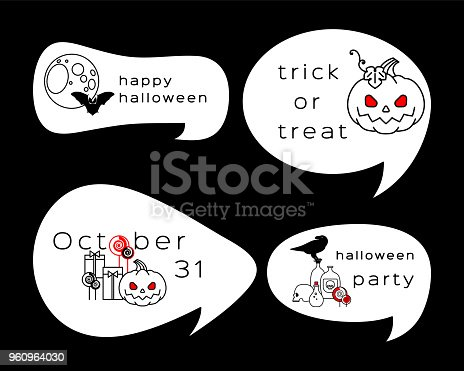Colección De Etiquetas De Halloween Bocadillo De Diálogo Con Los ...