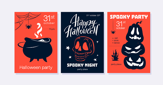 Collection of Halloween party flayer, poster ,card, design template.