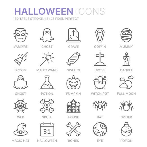 Collection of halloween related line icons. 48x48 Pixel Perfect. Editable stroke Collection of halloween related line icons. 48x48 Pixel Perfect. Editable stroke ghost icon stock illustrations
