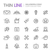 Collection of halloween thin line icons