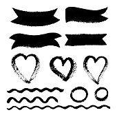 Collection of Hand drawn abstract black paint brush strokes, ribbon,box, wave, heart, round, circle, border. Vector set of shapes, frames isolated on white background.