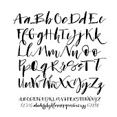 Collection of hand drawn alphabet letters with numbers.