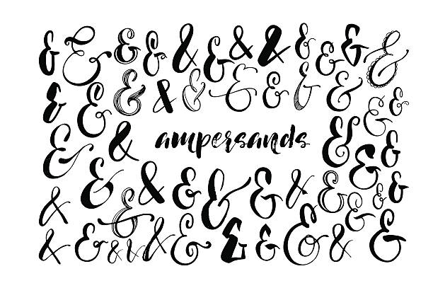 Collection of hand drawn ampersands. vector art illustration