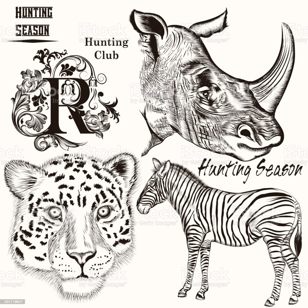 Uncategorized Drawn Pictures Of Animals collection of hand drawn animals for hunting design stock vector royalty free art