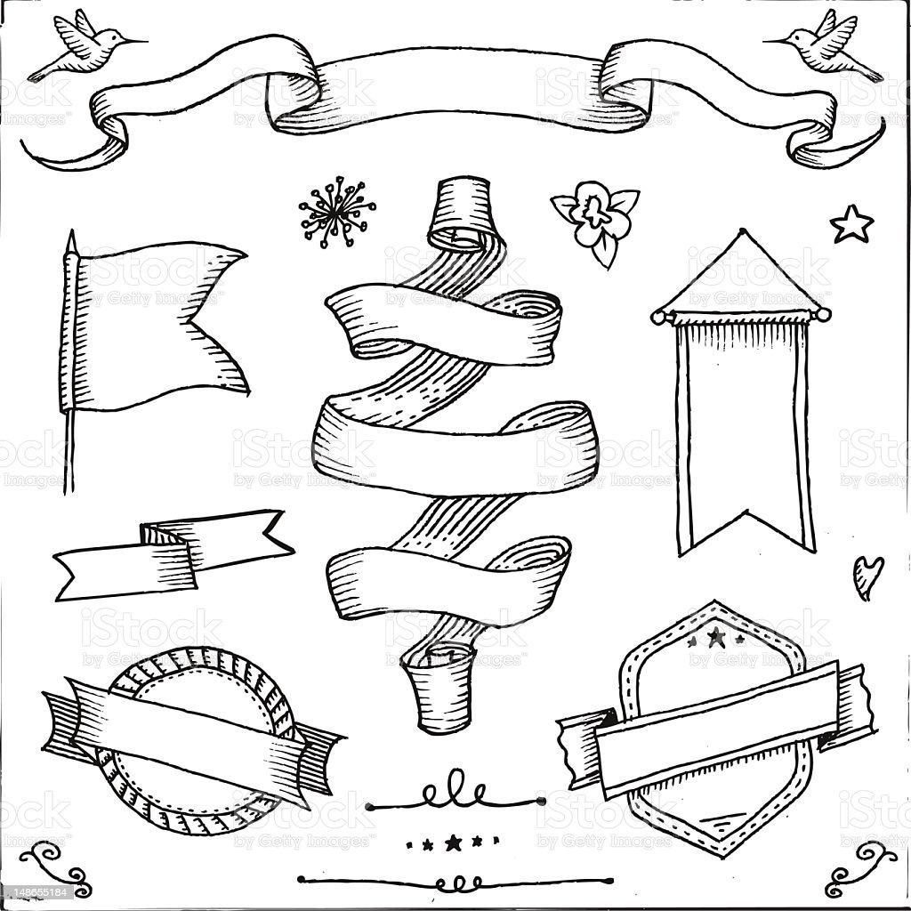 Collection of hand drawn banners and embellishments royalty-free collection of hand drawn banners and embellishments stock vector art & more images of abstract