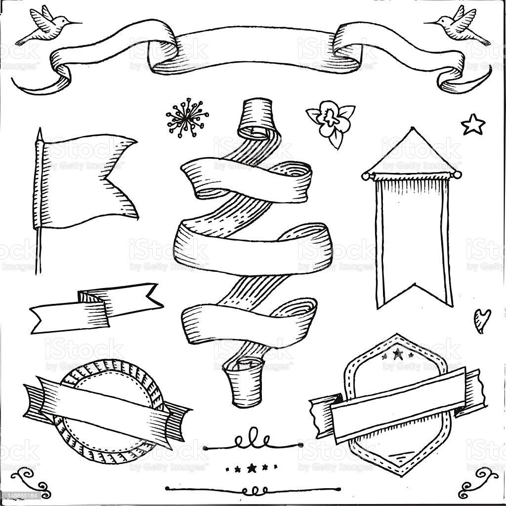 Retro pancartas - ilustración de arte vectorial
