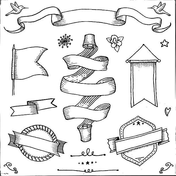 ilustraciones, imágenes clip art, dibujos animados e iconos de stock de retro pancartas - marcos de garabatos y dibujados a mano