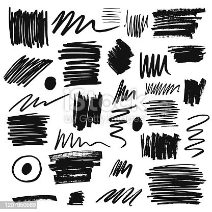 Collection of hand drawn brush paints, scribbles, marker elements. Vector isolated illustration.