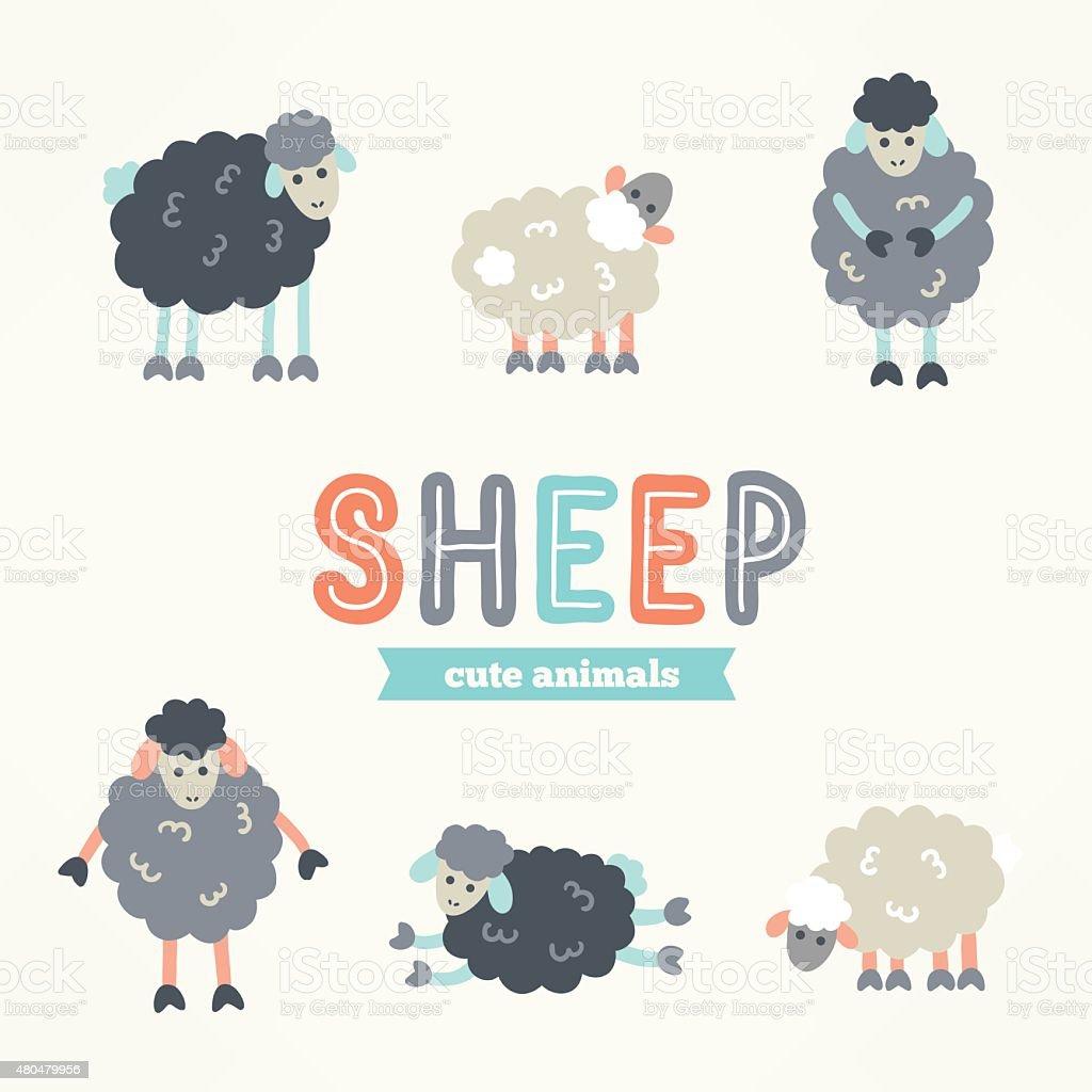 手描きのイラストコレクションの羊ます動物の文字 2015年のベクター