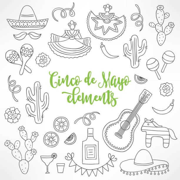 bildbanksillustrationer, clip art samt tecknat material och ikoner med samling av hand dras cinco de mayo designelement - cactus lime
