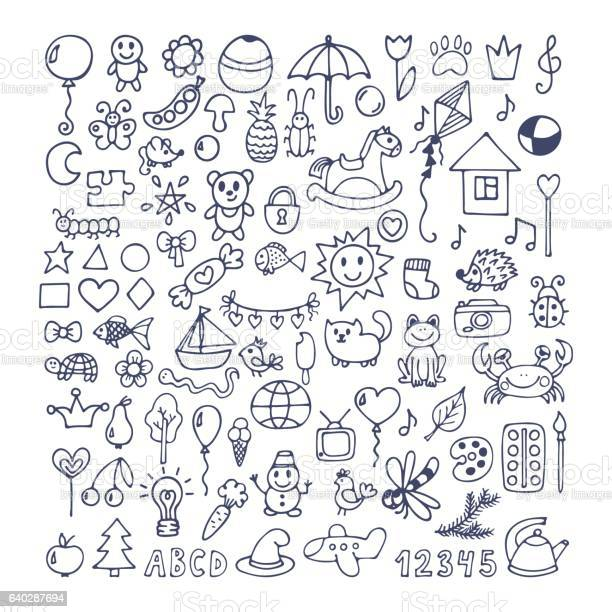 Collection of hand drawn cute doodles doodle children drawing vector id640287694?b=1&k=6&m=640287694&s=612x612&h=55exapgwpakpdmo7denzx shkskoq di a3acoi szy=