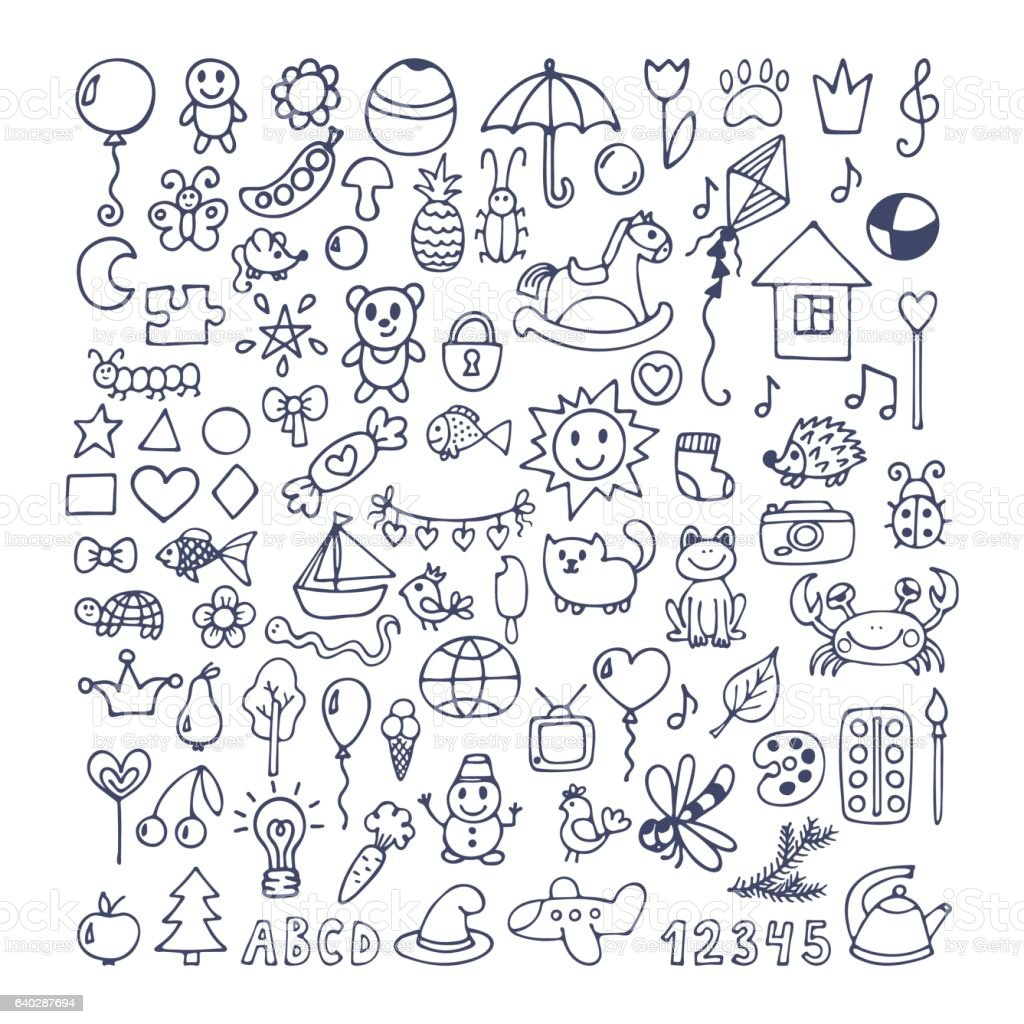 Collection of hand drawn cute doodles. Doodle children drawing vector art illustration