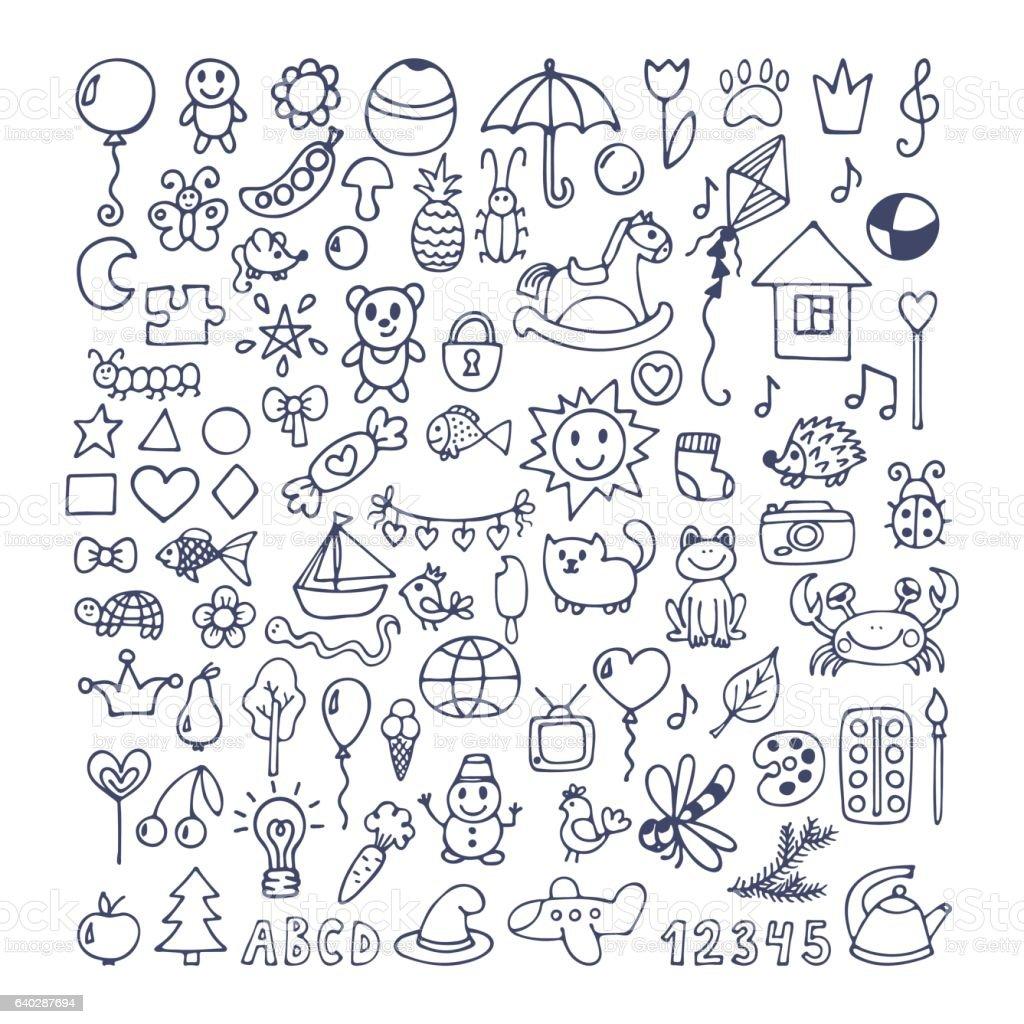 Collection of hand drawn cute doodles. Doodle children drawing – Vektorgrafik