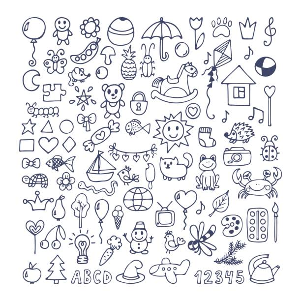 collection of hand drawn cute doodles. doodle children drawing - kids drawing 幅插畫檔、美工圖案、卡通及圖標