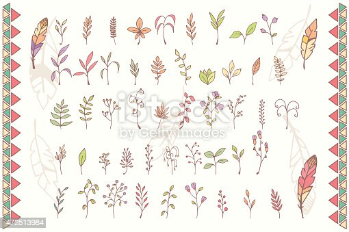 Collection of hand drawn flowers with feathers, vector illustration