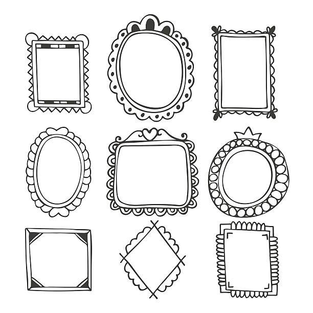 ilustraciones, imágenes clip art, dibujos animados e iconos de stock de conjunto de fotogramas dibujados a mano. vintage marcos de fotos - marcos de garabatos y dibujados a mano