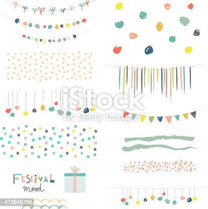 istock Collection of Hand Drawn Garlands, Party Banners and decor elements 473849756