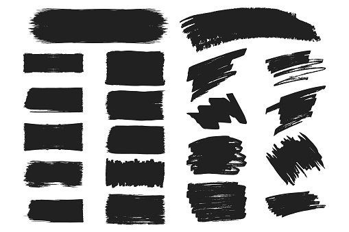 Collection of hand drawn grunge torn box shapes. Vector isolated background. Edge frames. Distressed brush strokes, rough borders.