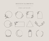 istock Collection of hand drawn illustrations elements, frames 1227604635