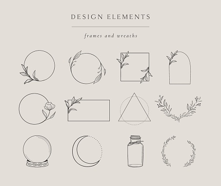 Collection of vector hand drawn design elements, geometric floral frames, borders, wreaths, detailed decorative illustrations. Trendy Line drawing, lineart style